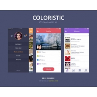 Simple Colorful iOS Android UI Kit PSD