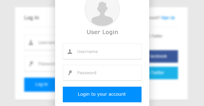 Clean User Login Box PSD Set