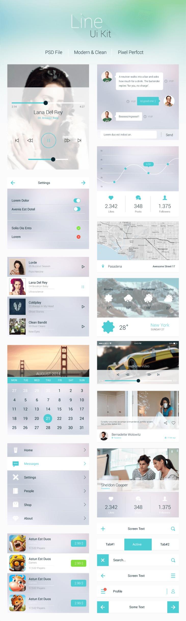 Modern Mobile App UI Elements Kit PSD