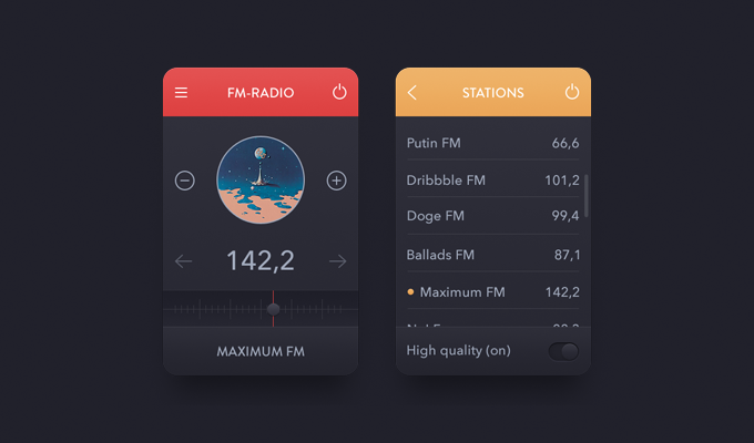 Mini Radio FM Station App PSD