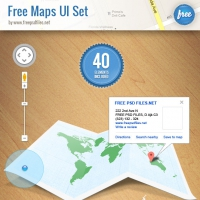 Maps UI Elements Pins and Tabs PSD Set