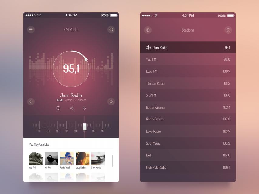 FM Radio UI iOS 7 App PSD