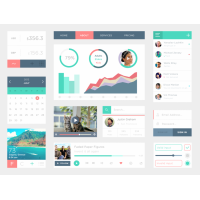 Clean Flat UI Kit PSD