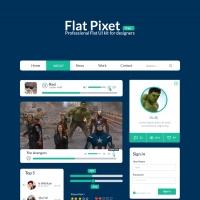 Flat Pixel UI Kit Free PSD