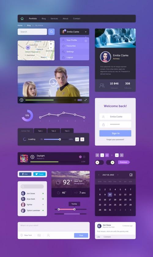 Awesome Flat Web UI Elements Kit PSD
