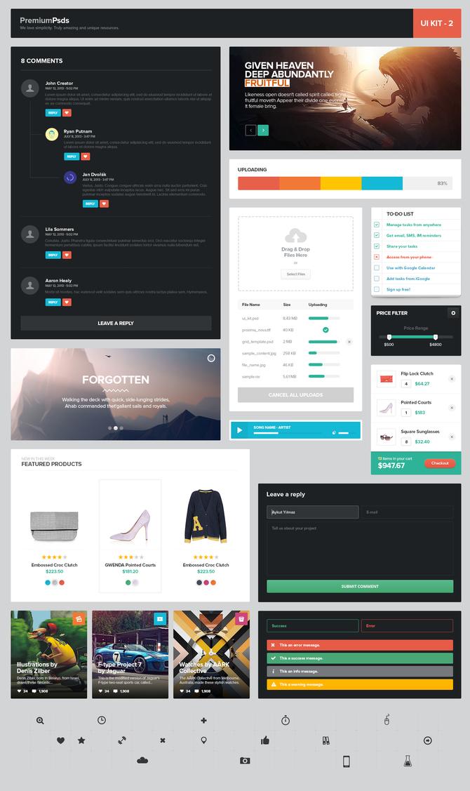 Fantastic Flat Web UI Elements Kit PSD
