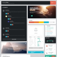 Fantastic Flat Web UI Elements Kit PSD