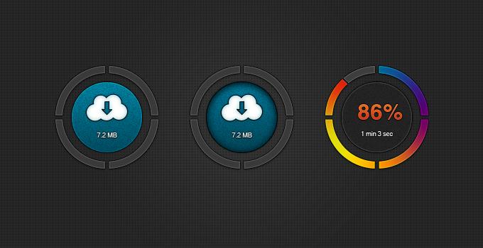 Dark Download Buttons UI Set PSD