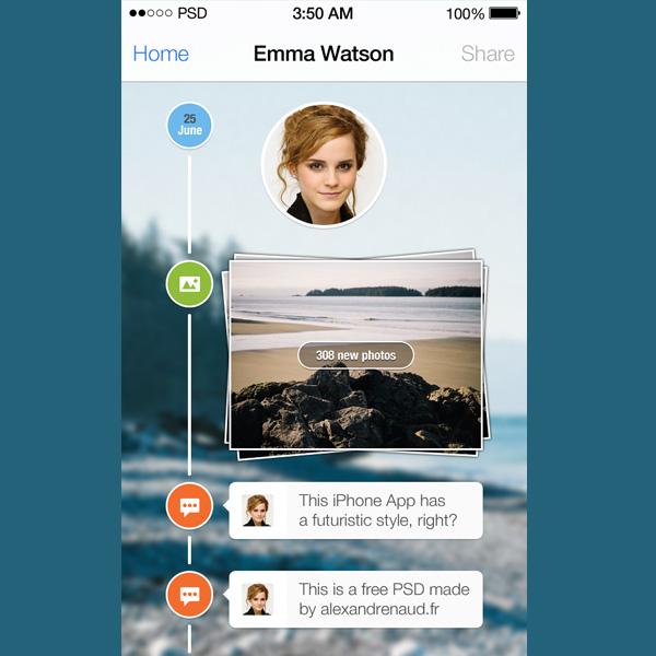iOS7 Timeline PSD