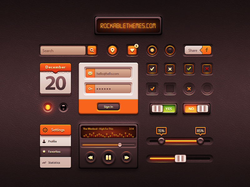 White Orange Ui Kit PSD