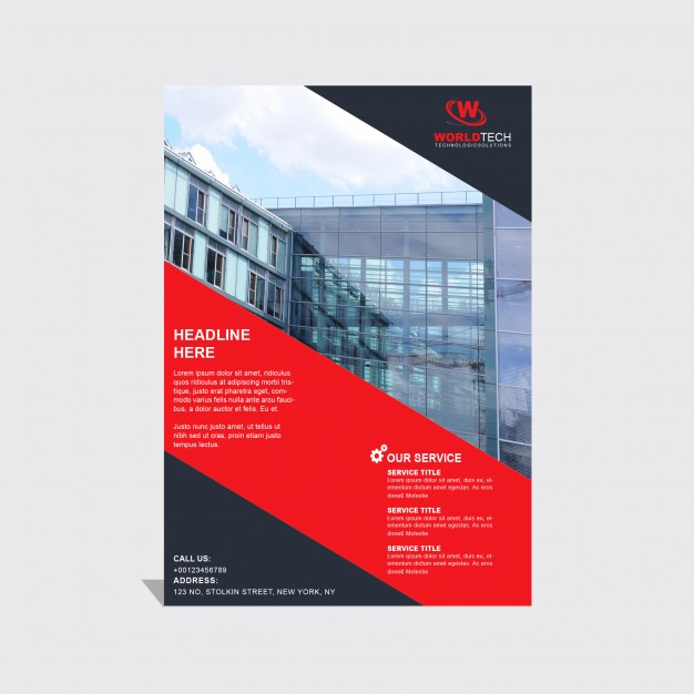 Brochure Template With Black And Red
