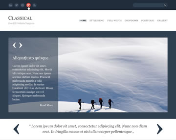 Classical Free PSD Website Template