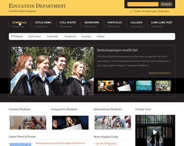 Education Department Free PSD Website Template