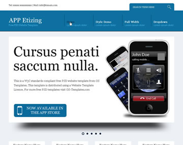APP Etizing Free PSD Website Template