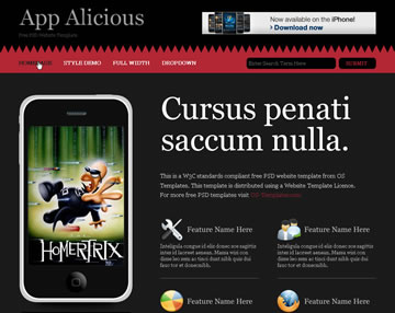 App Alicious Free PSD Website Template
