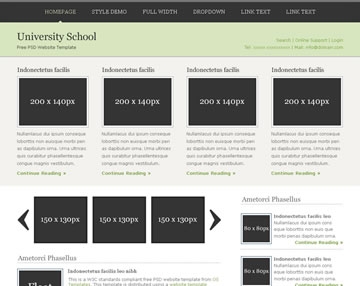 University School Free PSD Website Template