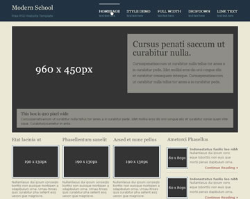 Modern School Free PSD Website Template