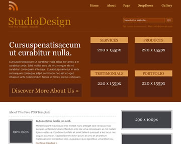 StudioDesign Free PSD Website Template