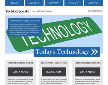 TechCorporate Free PSD Website Template