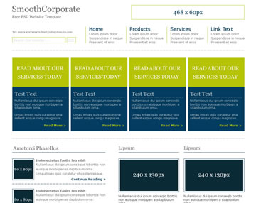 SmoothCorporate Free PSD Website Template