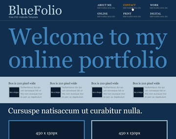 BlueFolio Free PSD Website Template