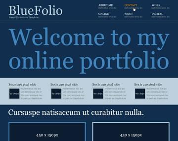 BlueFolio Free PSD Website Template
