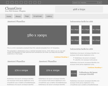 CleanGrey Free PSD Website Template