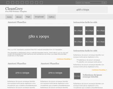 CleanGrey Free PSD Website Template