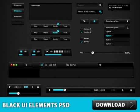 Black User Interface PSD