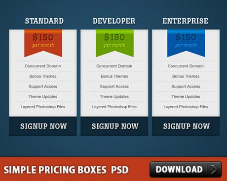 Simple Pricing Boxes Free