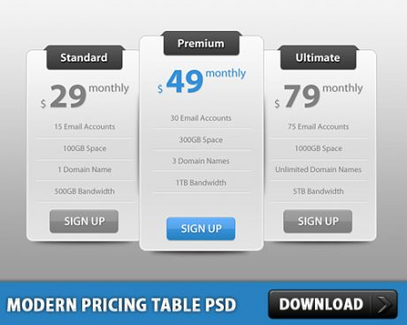 Slick Modern Pricing Table