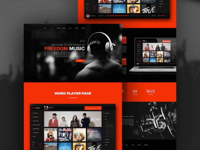 Music Player App Website Template Free