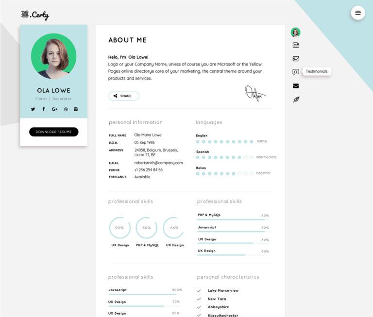Resume CV Website Theme Template Free