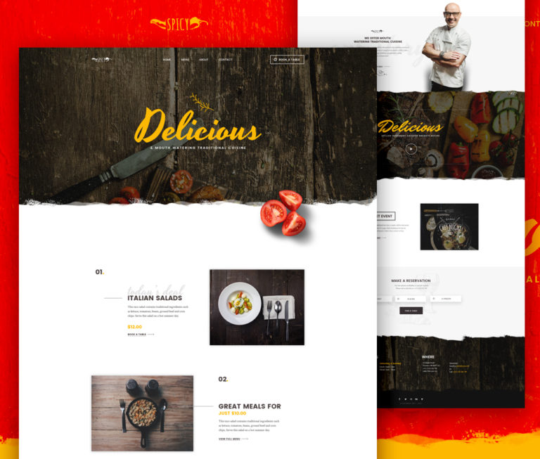 Restaurant and Cafe Website Template Free