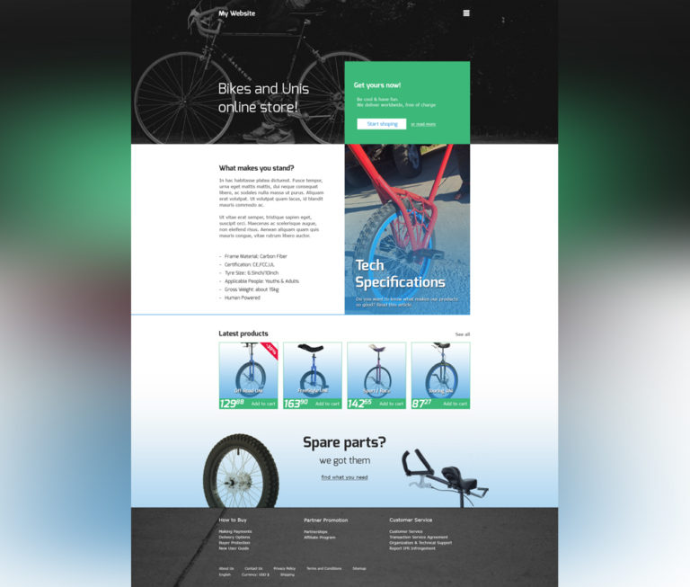 Online Bike Store Website Template Free