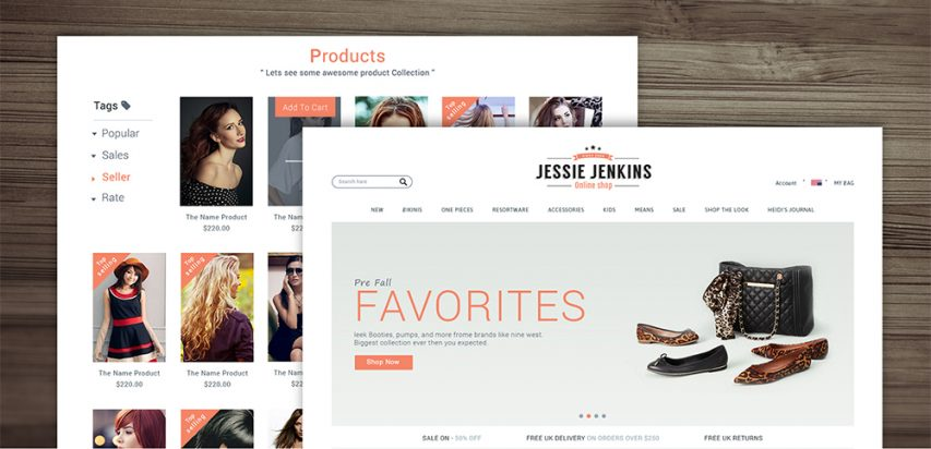 E-commerce Website Template Design PSD Freebie