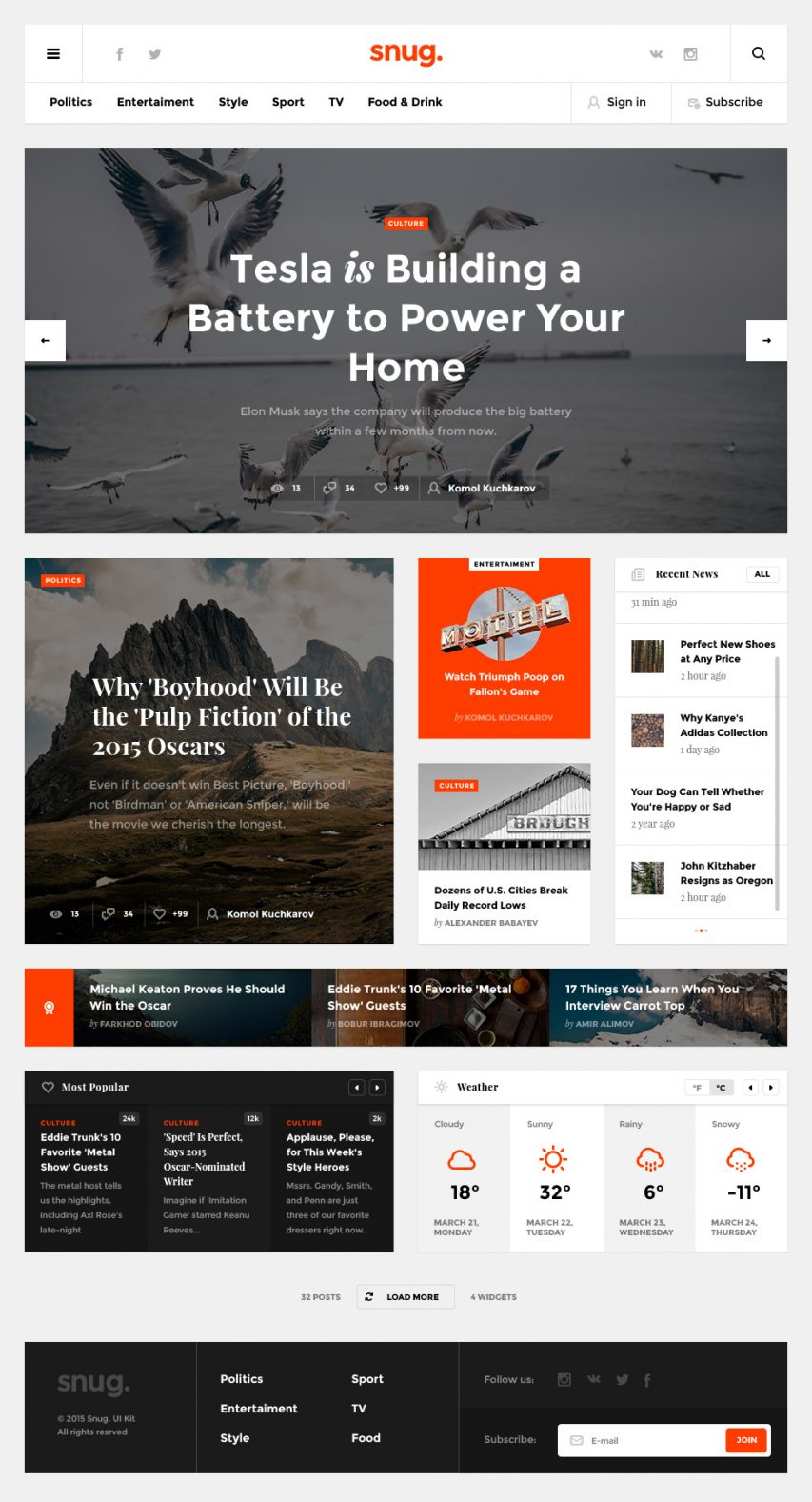 Creative Blog Website Template PSD
