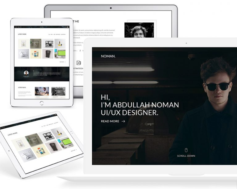 One Page Clean Portfolio Template Free