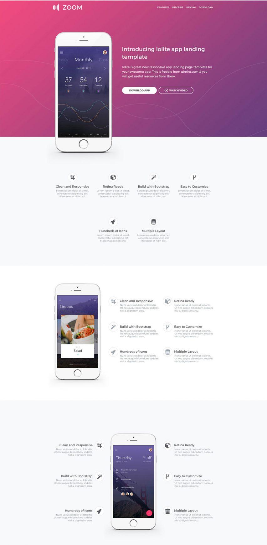 Mobile App Landing page UI Kit Free