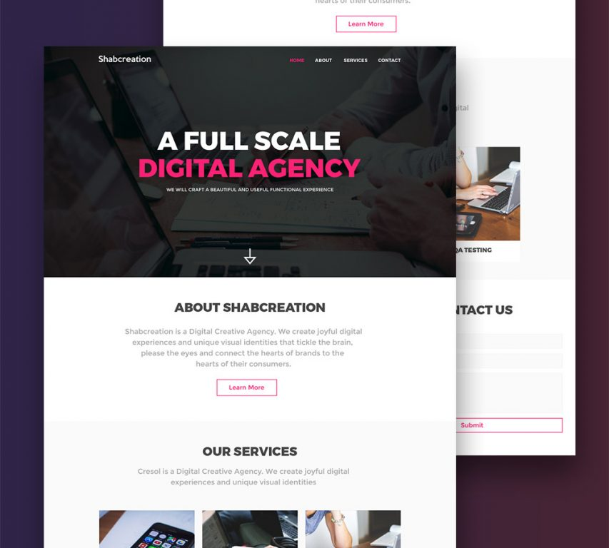 Simplistic Creative Agency Website Template Free