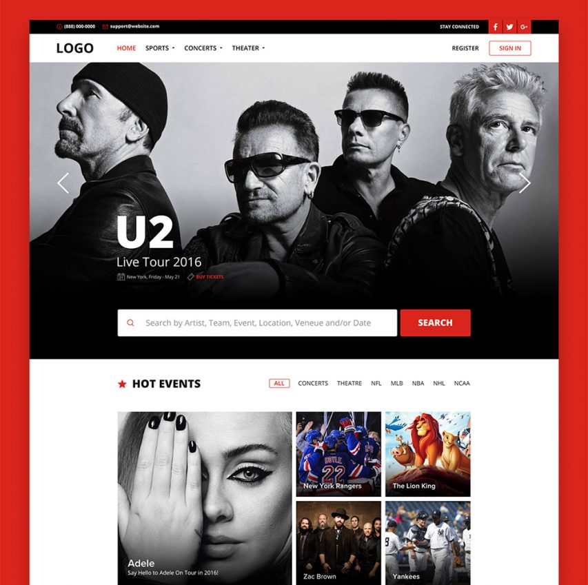 Online Ticket Booking Website Template Free