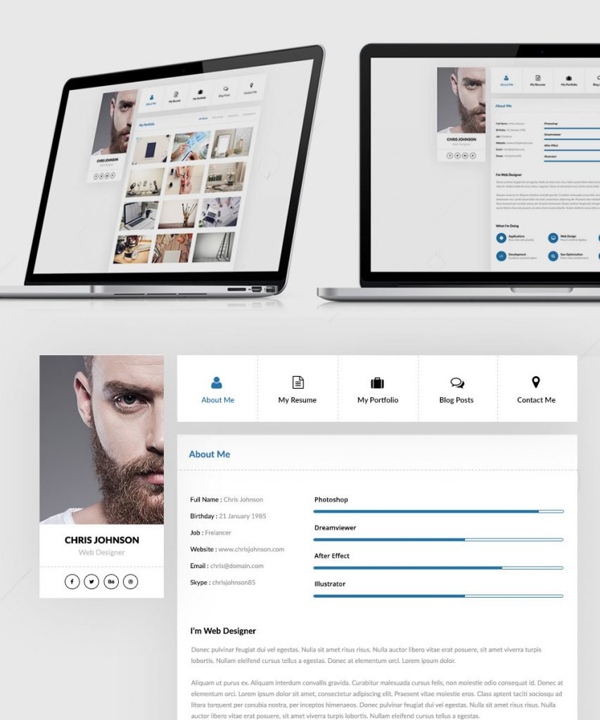 Resume and Portfolio Website Templates Free