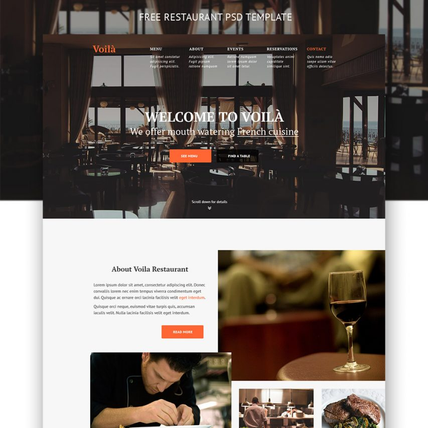 Simple Restaurant Website Template Free