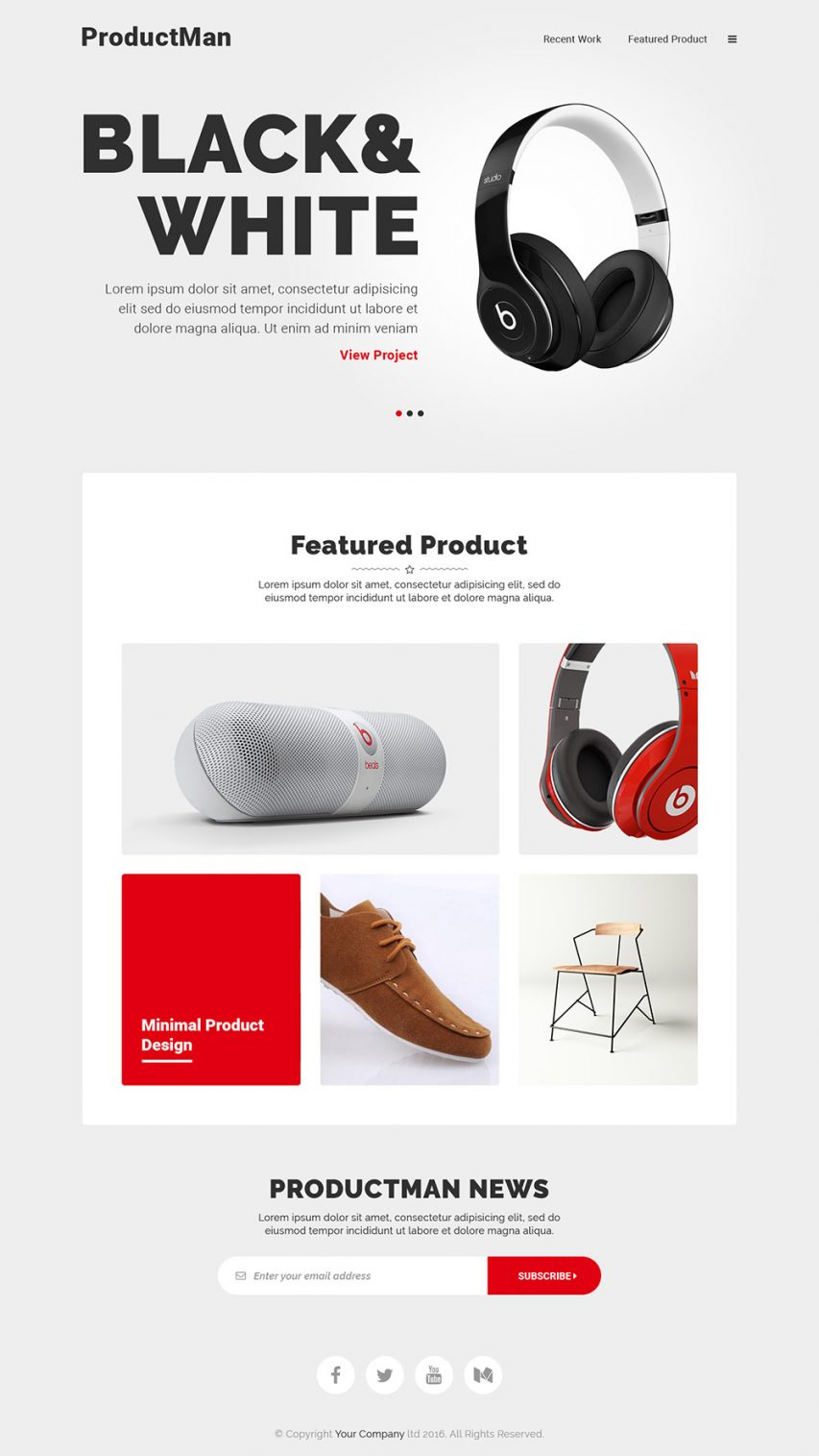 Minimalistic Product Landing Page Template Free