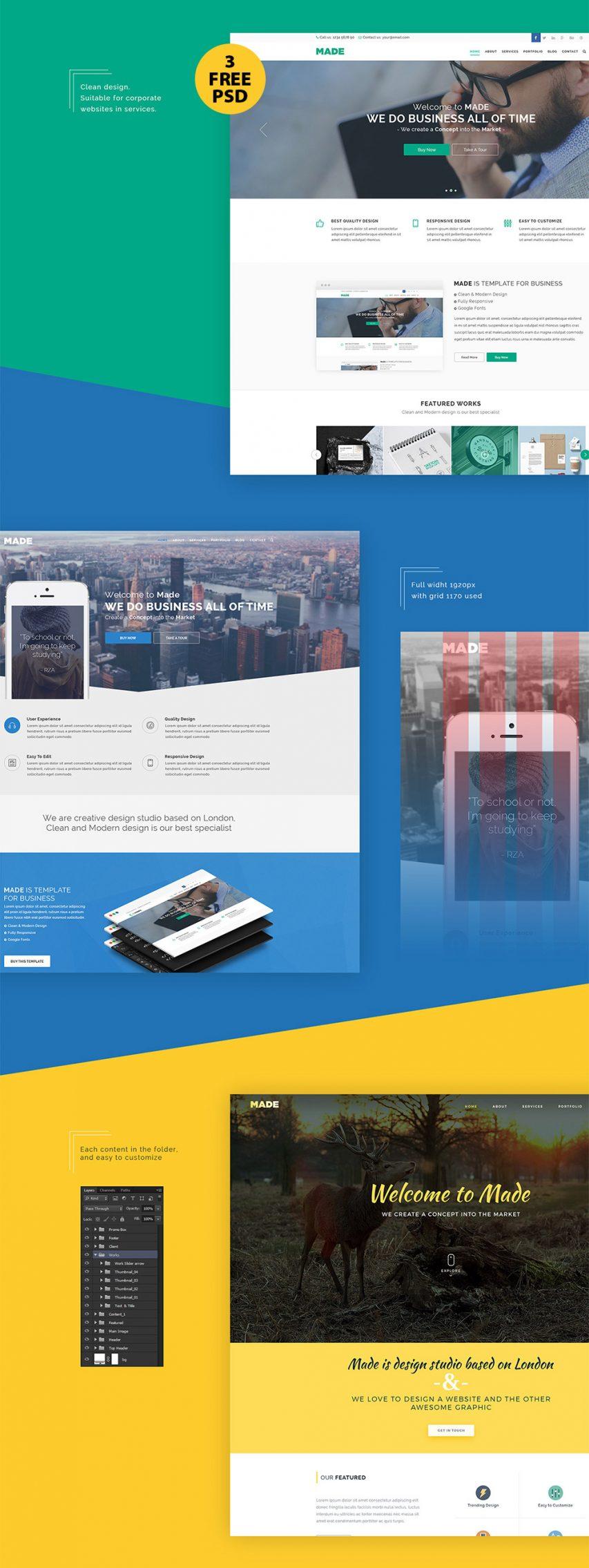 Clean Corporate Website Design Free PSD Template