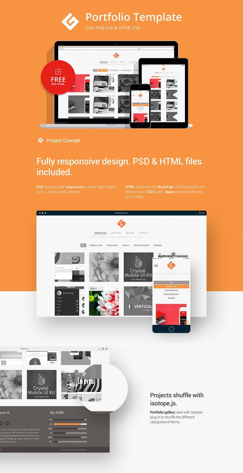 Minimalistic Personal Portfolio Website Template Free PSD