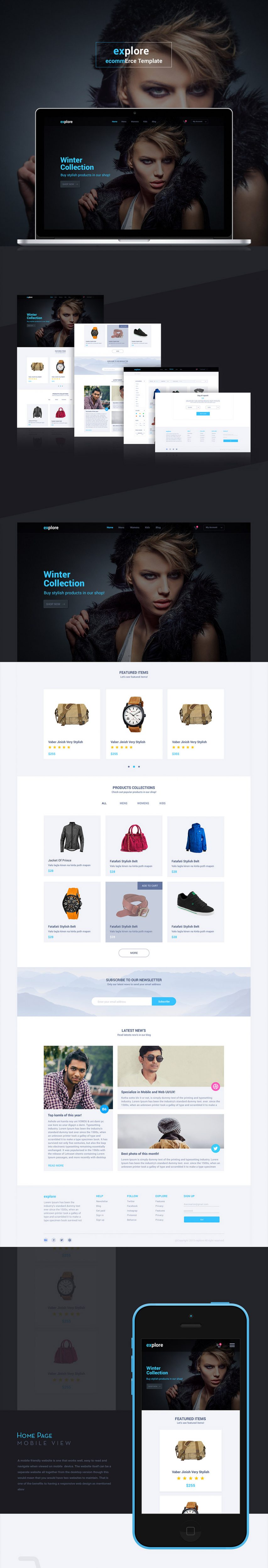 Simple eCommerce Website Templates Free PSD
