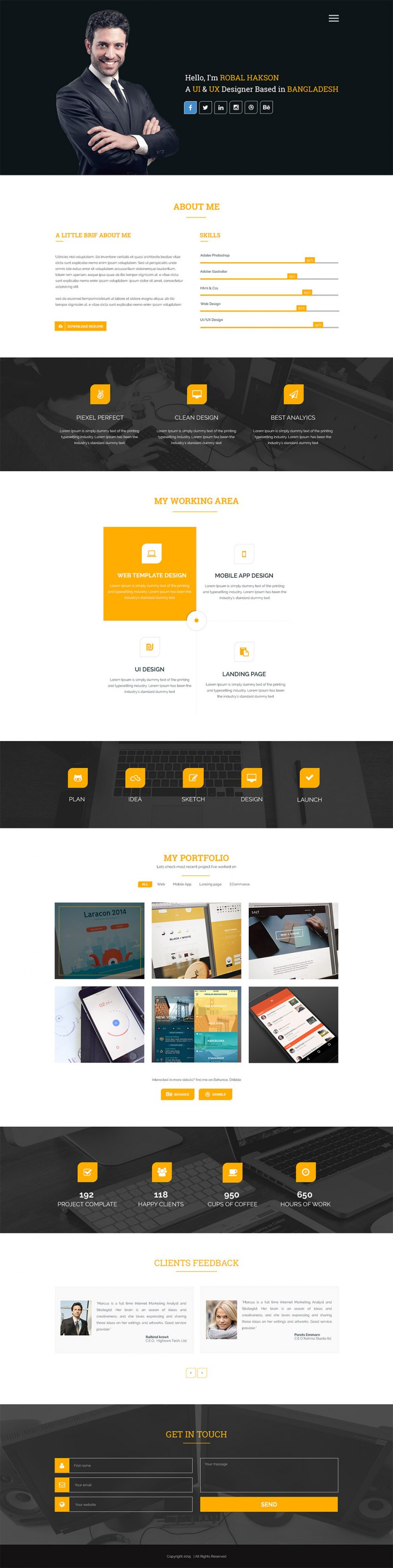 Clean One Page Corporate Portfolio Website