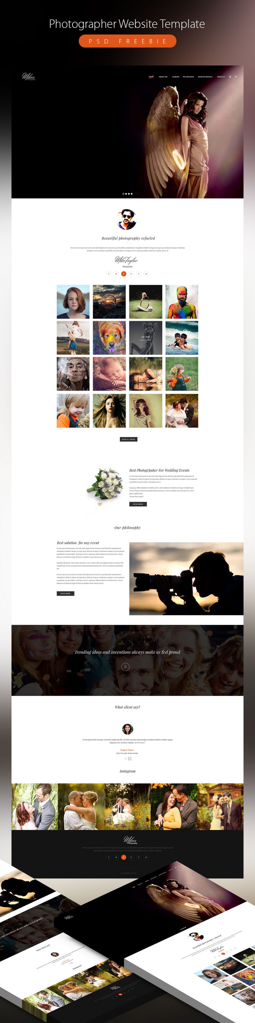 Clean Photographer Website Template