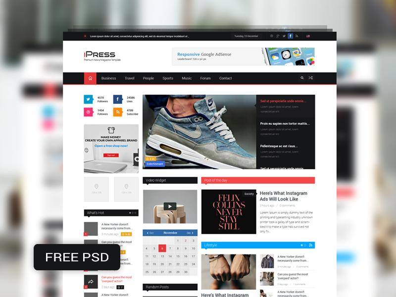 Magazine Blog Website Template Free